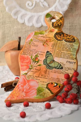 Handmade kitchen accessory wooden decoupage cutting board decorative use only - MADEheart.com