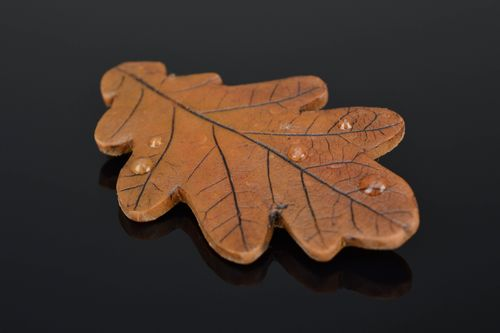 Polymer clay brooch in the shape of oak leaf - MADEheart.com