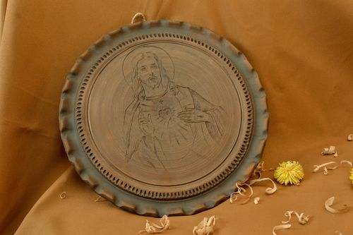 Clay wall panel with Jesus Christ icon - MADEheart.com