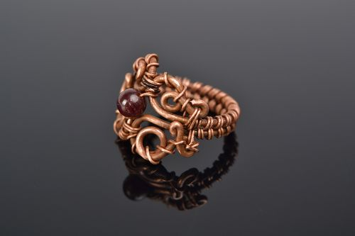 Homemade wire wrap copper ring with garnet - MADEheart.com