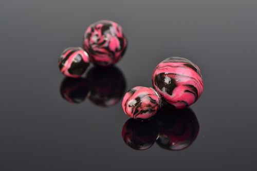 Handmade pink polymer clay double sided stud earrings - MADEheart.com