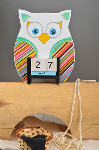 Handmade calendar for kids unusual table decor plywood cute accessories - MADEheart.com