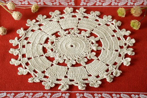 Openwork napkin handmade crocheted napkin table decor kitchen interior ideas - MADEheart.com