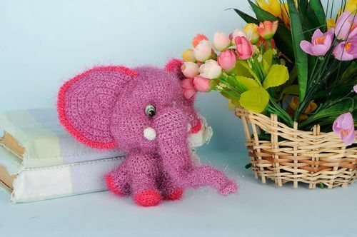 Crocheted rattle toy Elephant - MADEheart.com