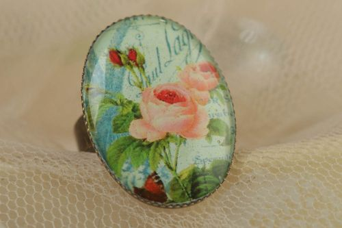 Handmade jewelry ring with metal basis and rose image coated with glass glaze - MADEheart.com