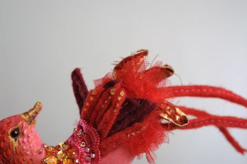 Brooch made of natural material Red bird - MADEheart.com