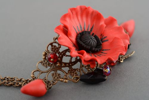 Bracelet made of metal and polymer clay Poppy - MADEheart.com
