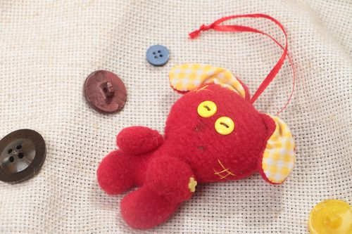 Handmade tiny soft toy red rabbit sewn of fleece with eyelet for interior  - MADEheart.com