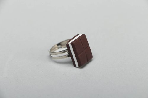 Unusual polymer clay ring - MADEheart.com