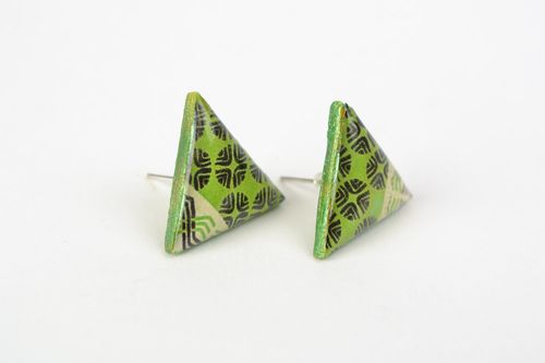Unusual handmade jewelry glaze stud earrings with patterns of lime color - MADEheart.com