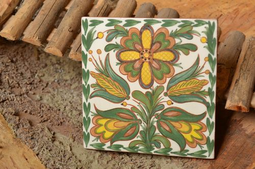 Ceramic tile for kitchen and fireplace hand-painted colorful handmade wall panel - MADEheart.com