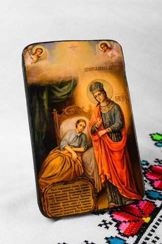 Handmade icon faith-healer orthodox Mary Gods Mother Blessing Virgin - MADEheart.com
