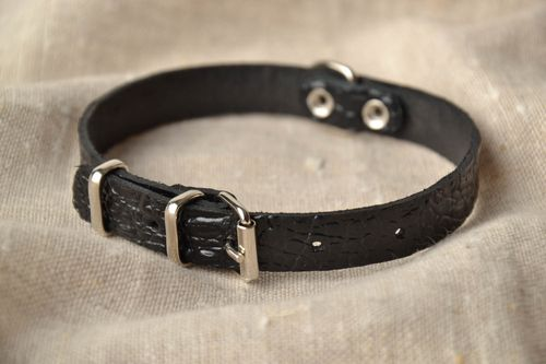 Thin leather dog collar - MADEheart.com