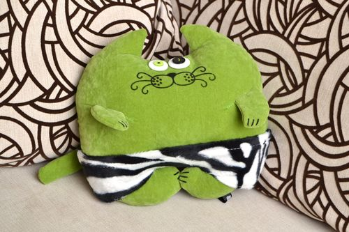 Handmade green soft cushion in the form of a cat made of flock fabric - MADEheart.com