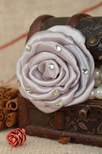 Handmade flower grey satin stylish beautiful hair tie with strasses for kids - MADEheart.com