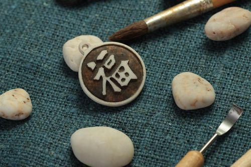 Handmade Chinese pendant accessory with runes polymer resin jewelry for women - MADEheart.com