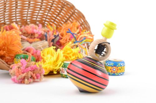 Bright painted eco wooden toy spinning top with ring and string handmade - MADEheart.com