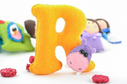 Beautiful bright handmade unusual felt fabric soft toy R of yellow color - MADEheart.com