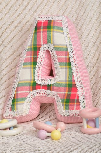 Handmade interior pillow cotton pink soft letter unusual developing games - MADEheart.com