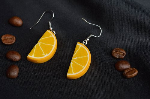 Handmade earrings polymer clay earrings with painting plastic bijouterie - MADEheart.com
