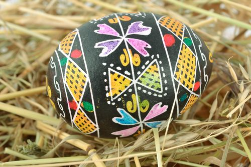 Beautiful colorful Easter egg with traditional painting made using wax technique - MADEheart.com