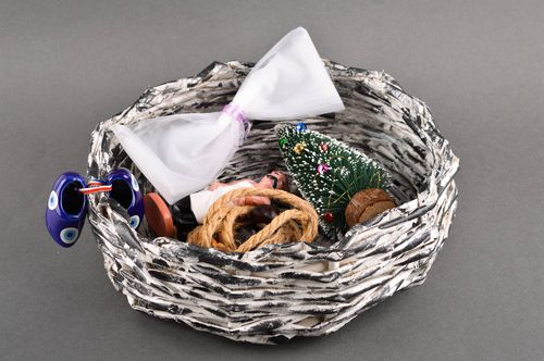 Handmade unusual woven basket stylish interior decor beautiful cute basket - MADEheart.com