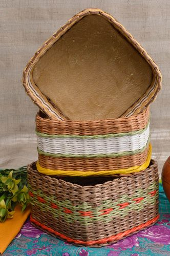 Handmade paper basket unusual box designer wicker basket interior decor - MADEheart.com