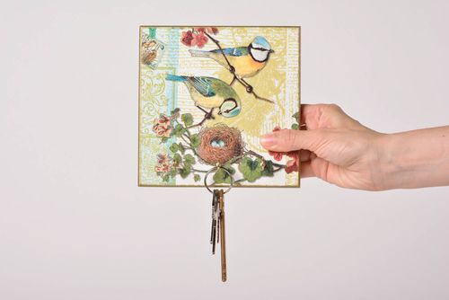 Square wall handmade key holder made of MDF with decoupage home decor ideas - MADEheart.com