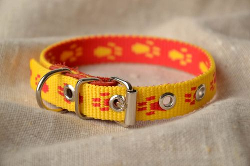 Yellow capron fabric dog collar - MADEheart.com