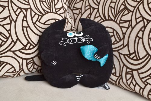 Handmade interior toy cushion in the form of black cat with fish made of flock - MADEheart.com