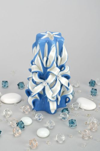 White and blue carved candle - MADEheart.com