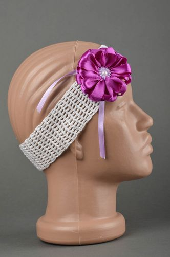 Handmade crocheted head band hair accessories head band with flower baby gift - MADEheart.com