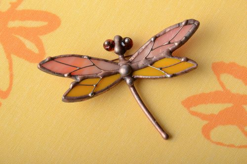 Unusual stained glass brooch in the shape of dragonfly - MADEheart.com