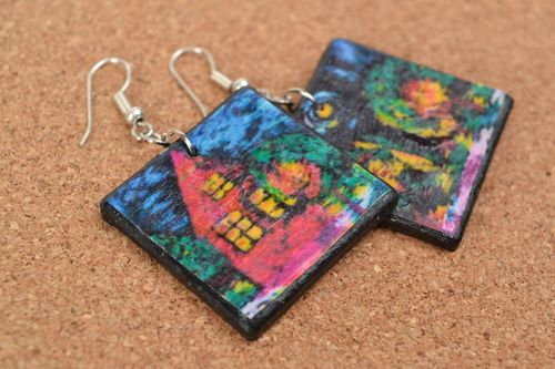 Large handmade decoupage polymer clay square earrings with hook ear wires - MADEheart.com