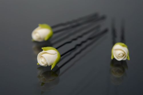 Set of cold porcelain hair pins 3 items White Roses - MADEheart.com