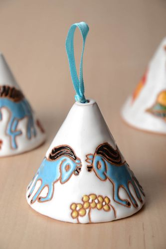 White handmade painted clay bell with horses  - MADEheart.com