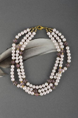 Handmade artificial pearls necklace unique designer jewelry accessory present - MADEheart.com