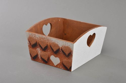 Handmade designer decoupage plywood candy box with heart shaped openings - MADEheart.com