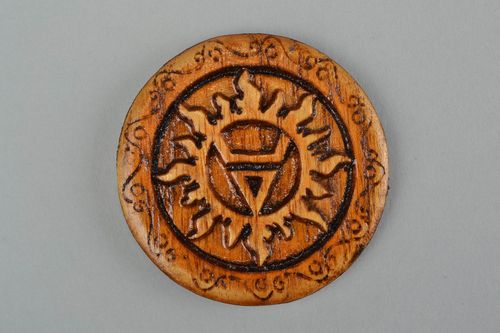 Wooden beautiful carved handmade lacquered amulet for home Veles - MADEheart.com