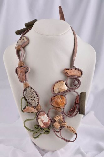 Stone necklace massive jewelry handmade leather necklace stylish accessory - MADEheart.com