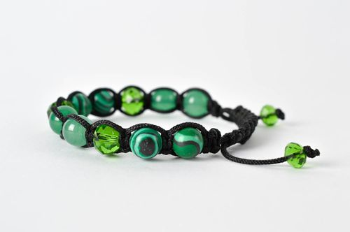 Stylish handmade gemstone bead bracelet woven cord bracelet gifts for her - MADEheart.com