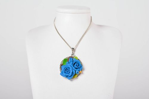Cold porcelain pendant handmade stylish bijouterie plastic jewelry for women - MADEheart.com