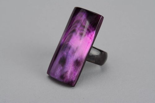 Violet rectangular ring made of horn - MADEheart.com