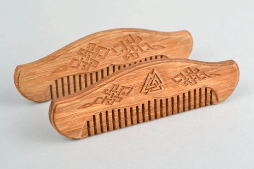 Wooden comb for beard handmade wooden comb for men beard styling accessories - MADEheart.com