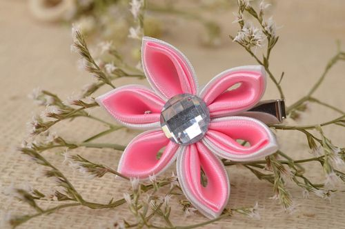 Handmade hair clip kanzashi flower hair accessories for girls gifts for kids - MADEheart.com