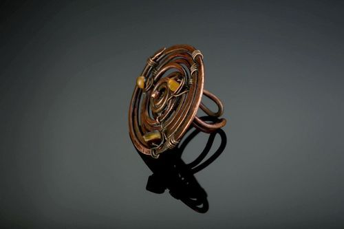 Copper ring with tigers eye - MADEheart.com