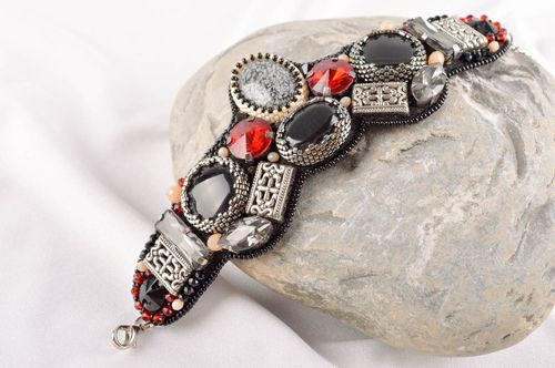 Handmade bracelet leather bracelet unusual gift beaded accessory gift ideas - MADEheart.com