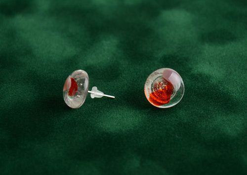 Earrings of round shape made of glass translucent studs small handmade jewelry - MADEheart.com
