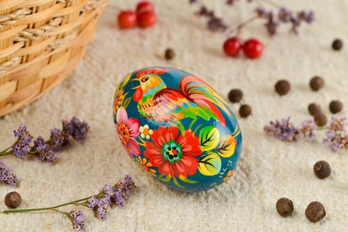 Unusual handmade Easter egg painted wooden egg  modern decor decorative use only - MADEheart.com