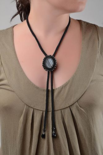 Beautiful handmade black beaded beaded necklace with oval pendant - MADEheart.com